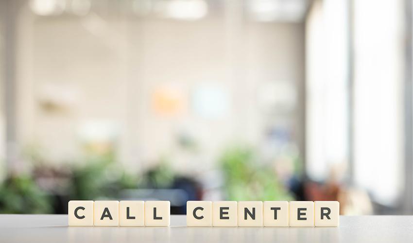 call center spelled in blocks