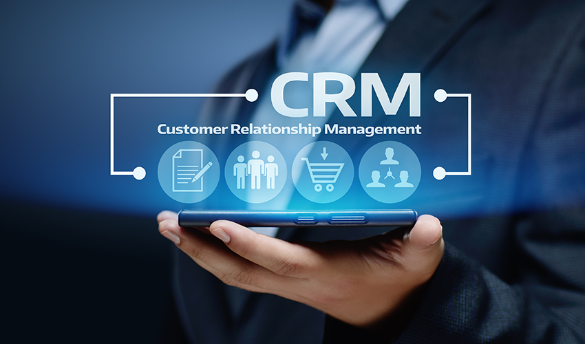 crm text over blue